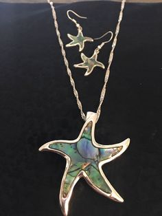 Star Fish Necklace And Earring Set With Green Abalone Stones Made Of Sterling Silver by venicebytheseajewels on Etsy Sea Jewelry, Cute Jewelry, Unique Jewelry, Starfish Necklace, Turquoise Necklace, Earring Tree, Silver Stars, Beautiful Earrings, Cuff Bracelets