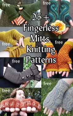 Fingerless Mitts and Gloves Free Knitting Patterns at…