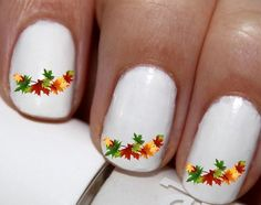 20 pc Autumn Colors Fall Orange And Yellow Autumn Leaves Harest Time Nail Art…