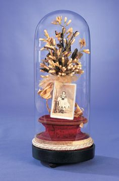 View Catalog Item - Theriault's Antique Doll Auctions ~ French ~ Wax Orange Blossom Bouquet in Dome with Photo of the Bride as a Young Girl ~ circa 1885
