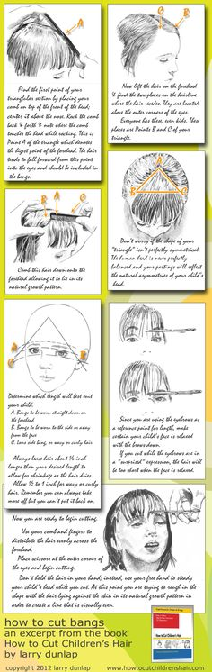 "How to Cut Bangs - an excerpt from ""How to Cut Children's Hair by Larry Dunlap. Available on Amazon.com $14.95 . More children & teens hair cutting lessons at http://www.HowToCutChildrensHair.com"