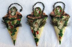 3 Antique Vtg Victorian German Diecut Christmas Ornament Paper Scrap Tinsel Cone | eBay