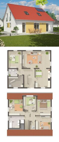 Classic single-family house New build modern floor plan with saddle roof Architecture -. Sims Building, Building A House, Houses In Germany, Town Country Haus, German Houses, Modern Japanese Architecture, Modern Floor Plans, Minnesota Home, Roof Architecture