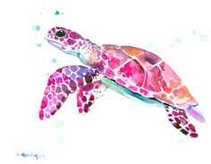 Sea Turtle, Original watercolor painting, 14 x 11 in, purple pink orange wall art by ORIGINALONLY on Etsy