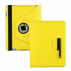 360 Degrees Rotating Stand (Yellow) Leather Case for Apple iPad 2 with smart cover wake/sleep capability ($9)