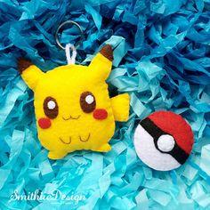 Little Felt Pikachu Keychain and get 1 FREE pokemon ball!