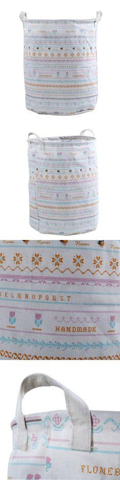 Multipurpose Cotton Linen Laundry Hamper Toy Box 01-$9.79