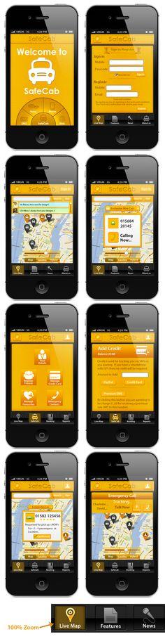 Safecab mobile app design