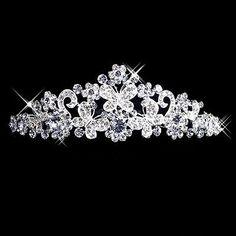 Wedding-Bridal-Prom-Diamante-Rhinestone-Butterfly-Flower-Crown-Headband-Tiara