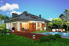 Projekt Domidea 2 d ps 119,87 m2 - koszt budowy - EXTRADOM Bungalow, Gazebo, Outdoor Structures, Mansions, House Styles, Ps, Outdoor Decor, Home Decor, Projects