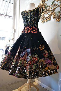 Xtabay Vintage Clothing Boutique - Portland, Oregon 50s mexican hand painted skirt top velvet sequins floral black multi color