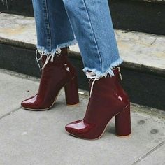 Our LEVEL UP heeled women& burgundy patent ankle boots have a back zip fa., Ur LEVEL UP heeled women& burgundy patent ankle boots have a back zip fa. Ur LEVEL UP heeled women& burgundy patent ankle boots have a. Dr Shoes, Cute Shoes, Me Too Shoes, Shoes Heels, Shoes Sneakers, Black Shoes, Patent Shoes, Sneaker Heels, Red Heels