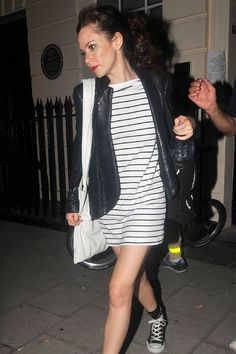 Anna Friel in a stripy dress and Converse in London