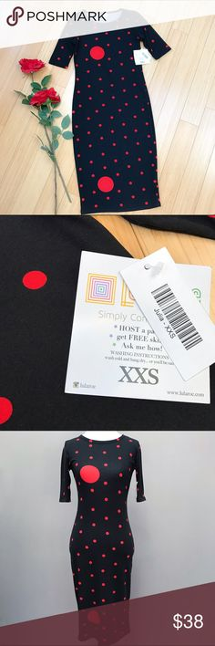 NWT Lularoe Julia dress, XXS. Lularoe new with tags Julia dress size XXS. Black with red dots, kind of perfect for everything. Super soft, never washed, all tags still attached. Retails at $45.  Love LLR! LuLaRoe Dresses Midi