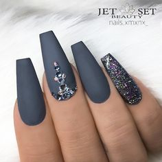 """3,285 Likes, 10 Comments - TheGlitterNail Get inspired! (@theglitternail) on Instagram: """"✨ REPOST - - • - - Matte Grey Coffin Nails with Glitter and Crystals ✨ - - • - - Picture and…"""""""