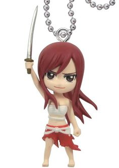 Tomy Fairy Tail Deformed mini Swing Keychain Part4 Erza Scarlet Figure #TakaraTomyARTS
