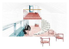 practices including muller van severen, francesco librizzi studio visualize a three-floor winery inside a 'sasso', a cave house carved into the rock in the UNESCO city of matera. Studios Architecture, Architecture Collage, Architecture Visualization, Architecture Design, Data Visualisation, School Architecture, Interior Design Presentation, Interior Design Images, Presentation Layout