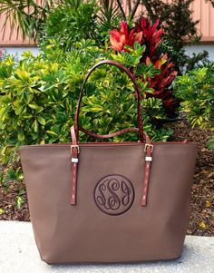 Monogram Purse in Taupe with Dark Cloister Brown Monogram on Etsy, $56.00