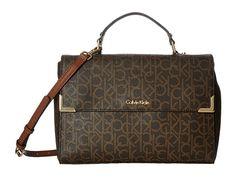 CALVIN KLEIN Hudson Monogram Satchel. #calvinklein #bags #shoulder bags #hand bags #polyester #satchel #lining #