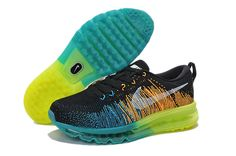 best website e04d8 0e1a1 Flyknit Air Max Men Black Blue Yellow Nike Shoes Cheap, Running Shoes Nike,  Cheap