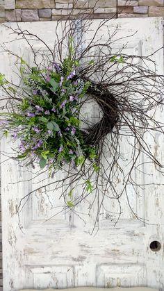 Dried Flower Wreaths, Lavender Wreath, Easter Wreaths, Holiday Wreaths, Wreaths For Front Door, Door Wreaths, Diy Photo Backdrop, Winter Centerpieces, Twig Wreath