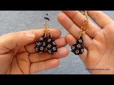 Beaded Earrings Patterns, Seed Bead Earrings, Making Bracelets With Beads, Beaded Bracelets, Bead Jewellery, Pendant Jewelry, Antique Jewellery Designs, Earring Tutorial, Bracelet Crafts