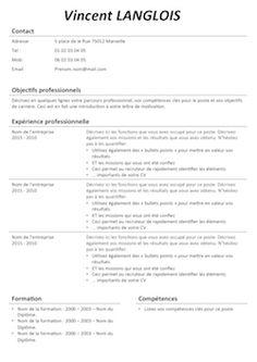 CV Classique - Télécharger des exemples de CV classiques - Exempledecv.com