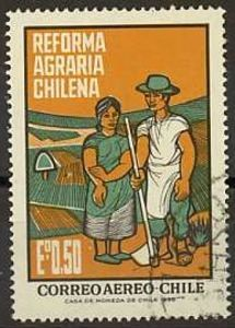 Sello: Farmer-Couple (Chile) (Agrarian-Reform by Chile) Mi:CL 596 Popular Hobbies, Political Posters, Vintage Stamps, Stamp Collecting, My Stamp, Pop Art, Illustration, Posts, Design