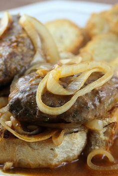 French Onion Salisbury Steak on Italian Baguettes