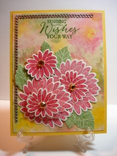 I had so much fun making flowers with these stamps that I had to do a second card.  i played with the wrinkle free distress background technique for this one also. I thought the corner of the background looked like an out of focus flower.   Thanks for the month of having fun with the color challenges!