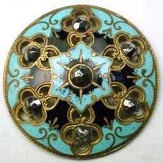 "Antique French Enamel Button Colorful Pierced Design Cut Steel Accents 1 & 3/16"""