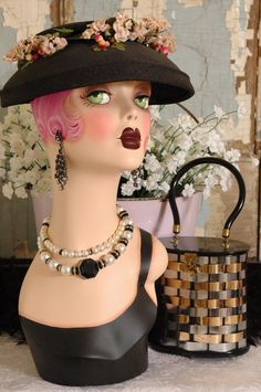 Vintage Style FANTASY FLAPPER MANNEQUIN HEAD -PINK 18 inches tall