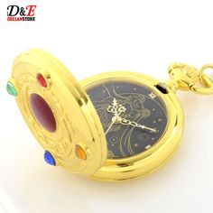 Rhinestone Anime Sailor Moon Golden Roman Quartz Pocket Watch