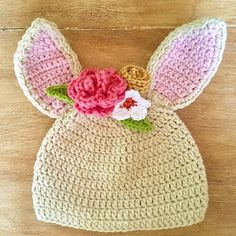 """Maize Hutton (@maizehutton) on Instagram: """"Bunny Hat! Pattern by @repeatcrafterme I added various flowers and leaves. Me thinks I need to…"""""""