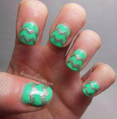 Glitter chevron nails