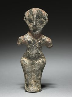 Vinca Idol, 4500-3500 BCSerbia, Vinça culture, Neolithic Era fired clay with paint, Overall: h. 16.10 cm (6 5/16 inches) > clevelandart.org
