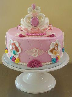 Disney Princess Birthday Cakes, Cinderella Birthday, Disney Birthday, Pink Princess Party, 3rd Birthday Cakes, 4th Birthday, Barbie Birthday Cake, Bolo Fack, Disney Cakes