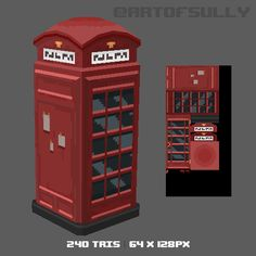 Brendan Sullivan - Portfolio - 3D Pixel-Art Telephone Box (Commission) on ArtStation at http://www.artofsully.com/projects/mYaBy?album_id=560266