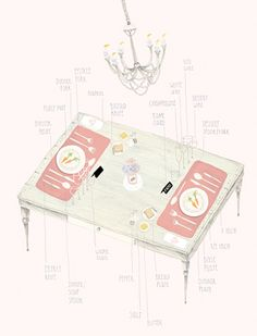 A beautiful illustration on how to seat a table by Amy Borrell.