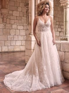 Flirty and floral, this gown is complete with dreamy layered tulle and an illusion lace bodice. Bridal Gowns, Wedding Gowns, Formal Wedding, Boho Wedding, Summer Wedding, Prom Boutiques, Bridal Closet, Blush Gown, Maggie Sottero Wedding Dresses