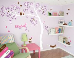 White Tree Wall Decal with birds, personalized with baby name, Wall decals, Kids room wall decor Wall Mural stickers, Room decor ideas - 063