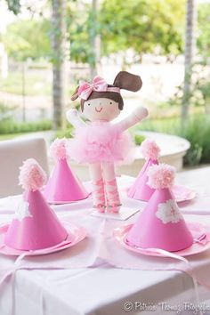 DIY party hats at a Ballet Themed 1st Birthday Party via Kara's Party Ideas Kara'sPartyIdeas.com #Ballerina #PartyIdeas #Pink #Supplies #BalletCake #partyhats