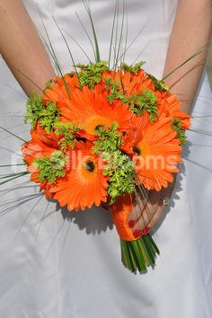 Zesty Orange Gerbera and Bear Grass Bridal Bouquet