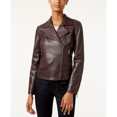 Marc New York Leah Leather Moto Jacket ($378) ❤ liked on Polyvore featuring outerwear, jackets, burgundy, marc new york jacket, leather jackets, genuine leather jackets, motorcycle jacket and biker jackets