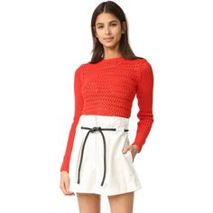 3.1 Phillip Lim Long Sleeve Crochet Pullover (537 AUD) ❤ liked on Polyvore featuring tops, sweaters, poppy, crew-neck sweaters, white pullover sweater, crochet crop top, long sleeve sweater and white crochet sweater