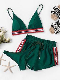Shop Striped Trim Bikini Set With Shorts online. SheIn offers Striped Trim… Shop Striped Trim Bikini Set With Shorts online. SheIn offers Striped Trim Bikini Set With Shorts & more to fit your fashionable needs. Swimsuit High Cut, Swimsuit With Shorts, Ruffle Swimsuit, Bathing Suit With Shorts, Cut Shorts, Cute Swimsuits, Women Swimsuits, Ropa Interior Boxers, Bikini Outfits