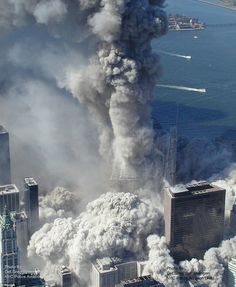 Aerial pictures, many never seen before, of the September 11 2001 attacks on the World Trade Center in New York City. A World Trade Center tower implodes Picture: AP Photo/NYPD via ABC News, Det. World Trade Center Attack, Trade Centre, Lest We Forget, Never Forget, Don't Forget, Us History, American History, Ancient History, Photographie New York