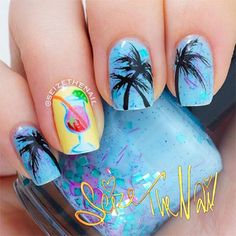 Blue, Black, Yellow, Pink, Orange, Green ::::: Tropical Mixed Drink, Palm Tree Nail Art