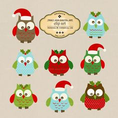 Christmas Owl Clip Art for commercial and personal use. $6,95, via Etsy.