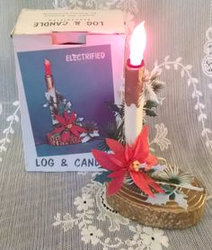 Candle, vintage Christmas, Electric Candle, Christmas Decor, Christmas, Log and Candle, NIB, candle light, poinsettia, MCM, retro, new,holly by Vintagepetalpushers on Etsy